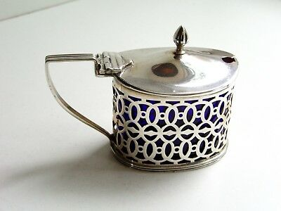 Stunning 1900 Victorian Pierced Solid Silver Mustard Pot With Blue Glass Liner
