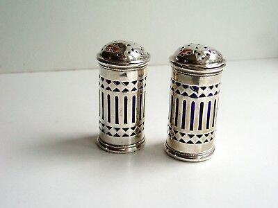 Stunning Pierced Solid Sterling Silver Pepper Pots With Blue Glass Liners - 1917