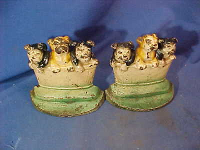 1930s ART DECO Era BULLDOG PUPPIES in TUB Cast Iron BOOKENDS by HUBLEY