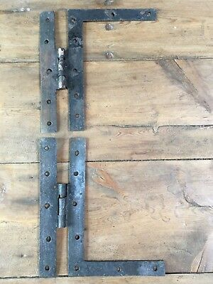 Salvaged Pair Of Very Old Wrought Iron H Door Hinges