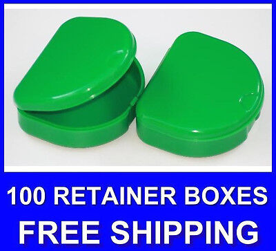 100 Green Denture Retainer Box Orthodontic Dental Case Mouth Ortho Brace Teeth..
