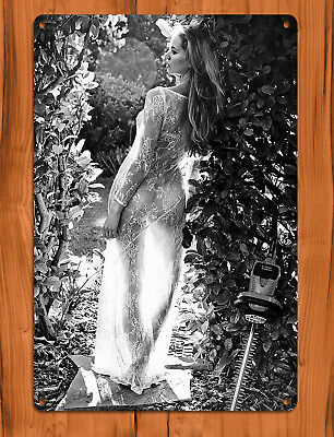 "TIN SIGN ""Stihl Hedge"" Trimmer Black and White Sexy Garden Garage Wall Decor"