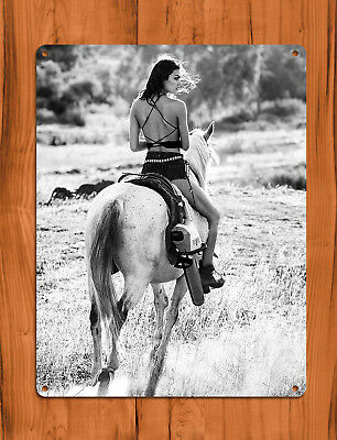 "TIN SIGN ""Stihl Horse"" Blower Black and White Sexy Ranch Garage Wall Decor"