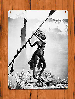 "TIN SIGN ""Stihl River"" African Chainsaw Sexy Black and White Wall Decor"