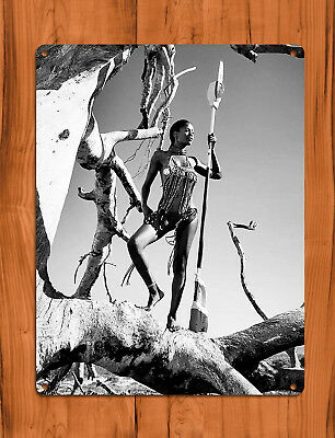 "TIN SIGN ""Stihl Tree"" African Chainsaw Sexy Black and White Wall Decor"