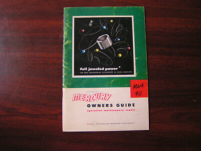 Vintage Mercury Outboard Motor Owners Guide for Mark 40