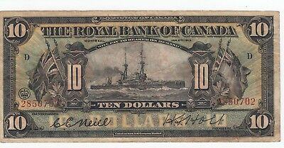 1913 Royal Bank of Canada $10 Battleship NEIL-HOLT Montreal Large Note A4896