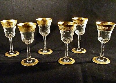 St Louis Crystal THISTLE Set of Six CORDIAL SHERRY Stemmed Glasses No Reserve