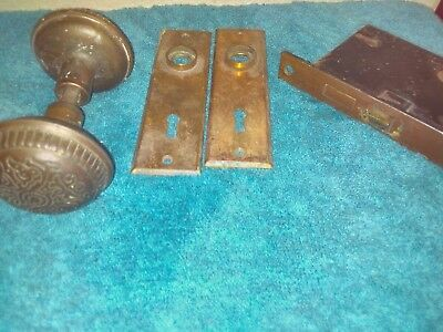 Antique Vintage  Brass Door Knob Lock Set Hardware Plates