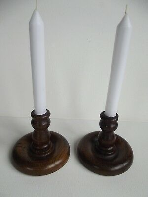 A Pair Of Vintage English Oak Dresser Candle Holders
