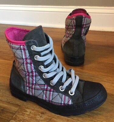 Converse All Star Outsider Womens High Top Pink Gray Plaid Boots 518990 Sz 8 36335b295