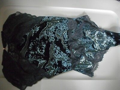 Victoria's Secret Dream Angles Small Black Crushed Velvet One-Piece Teddy Nwt