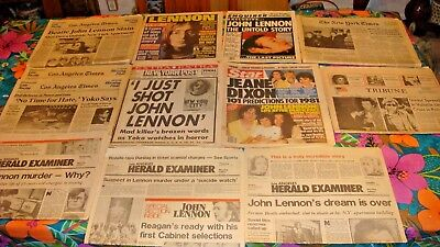 VINTAGE LOT OF (12) BEATLE JOHN LENNON NEWSPAPERS FROM 1980 New York Los Angeles
