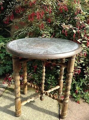 Vintage Antique Barley Twist Folding Oak Copper Top Coffee Occasional Table