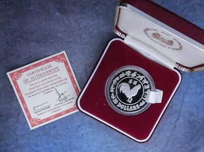 1981 Singapore 10 Dollar Silver Proof Year Of The Rooster Proof Coa
