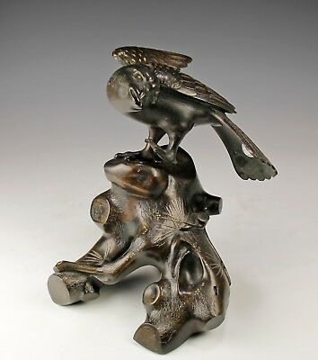 Large Antique Japanese Bronze Mixed Metal Statue Of A Bird On A Stump
