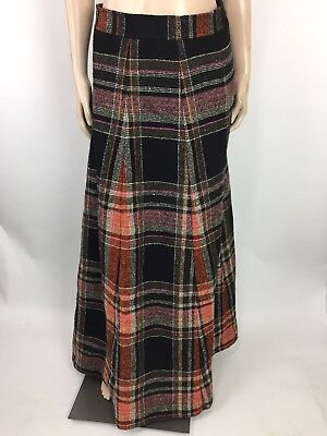 Vintage Vonnie Reynolds Girls Maxi Skirt 14 Ireland Plaid High Waist Wool