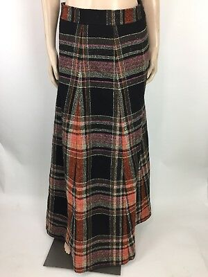 Vintage Vonnie Reynolds Girls Maxi Skirt 14 XL Ireland Plaid High Waist Wool