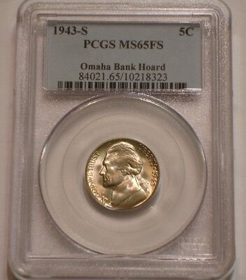 1943 S SILVER Wartime Jefferson Nickel PCGS MS 65 FS FULL STEPS Omaha Bank Hoard