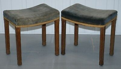 Pair Of Er Ii 1953 Queen Elizabeth Ii Coronation Stools Regal Velvet Upholstery