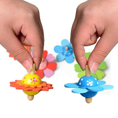 Wooden Flower Spinning Tops Toy Creative Wood Craft Gift Gyro Kids Funny Toys