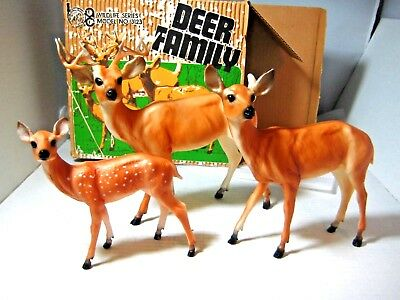 Vintage Breyer Deer Family Stag Doe Fawn with Original Box
