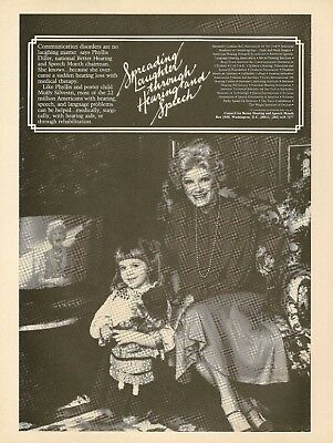1984 Phyllis Diller Poster Child Muffy Silvestri photo Hearing&Speech Vintage Ad