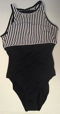 Vintage COLE OF CALIFORNIA Size 12 Striped Swimsuit Navy and White
