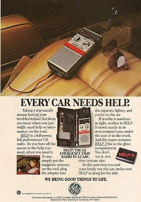 1984 AD for GE Emergency Two-Way Radio HELP CB Partial-Page Vintage Print Advert