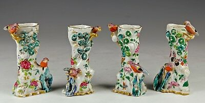 Rare Set Of 4 Antique Chinese Famille Rose Porcelain Tree + Bird Form Vases