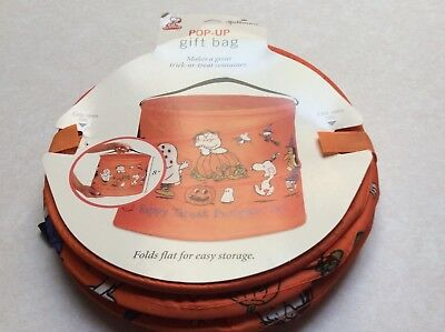 Hallmark Peanuts Halloween Nylon Trick or Treat/Gift Bag Pop Up New