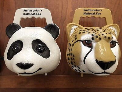 Smithsonian National Zoo PANDA BEAR CHEETAH Plastic Lunch Box Purse Lot