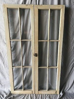 Pair Antique 6 Lite Casement Door Windows Cabinet Shabby 16x52 Vtg Old   83-18C