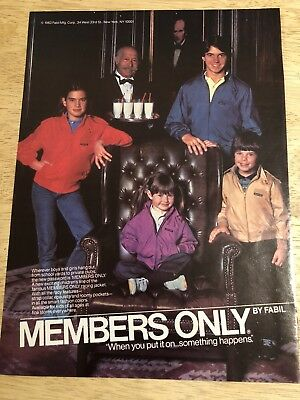 MEMBERS ONLY Jackets Ad  - Vintage 1983 Magazine Print Ad Clipping