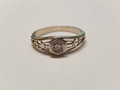Antique Art Deco 14k White Gold Filigree Diamond Child's Ring
