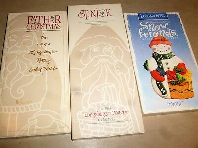 Longaberger Pottery Christmas Cookie Molds All Mib