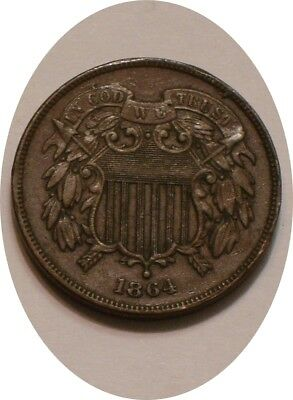 """1864 Two Cent Piece 2¢ Sharp FULL DETAIL re punched date DOUBLED """"1"""" in Date"""