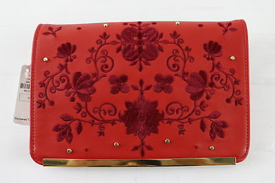 NWT $90 Neiman Marcus Flora Print Red Chained Wallet (READ)