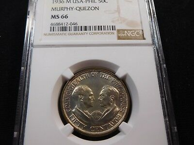 U10 Philippines 1936-M Murphy-Quezon 50 Centavos NGC MS-66 Tied for Finest Known