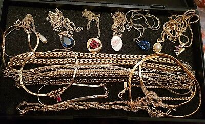 Vintage Art Deco Antique Joblot Of Gold Plated Chains Necklaces Glass Pendants