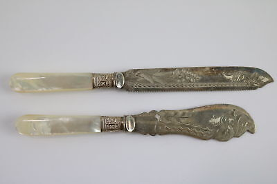 X2 Vintage J B S Mother Of All Pearl Handle Floral Silver Bread/Butter Knives