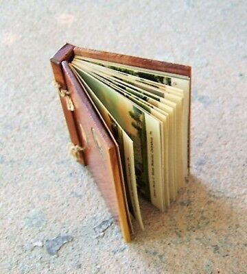 """Small Vintage Book with Cedar Wood Covers; GETTYSBURG w/ 20 """"Linen"""" Pictures"""