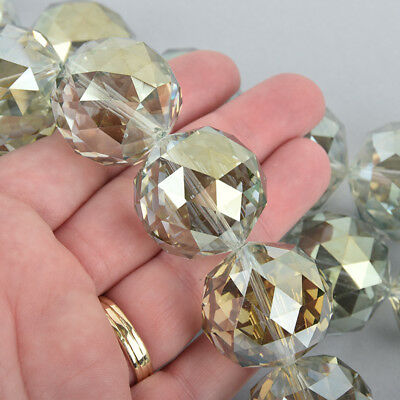 30mm CHAMPAGNE AB Round Faceted Crystal Glass Beads, Vitrail 7 beads, bgl1787
