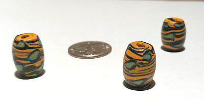 "Trio of Antique Venetian Fancy Yellow ""Eye"" African Glass Trade Beads"