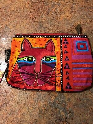 Laurel Burch Canvas Cosmetic Zippered Pouch - Makeup Bag Cats New with tags