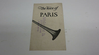 1925  Voice of Paris trumpet horn Sales Literature from my Fathers collection