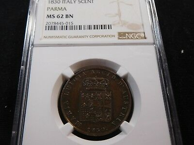 U49 Italy Parma 1830 5 Centesimi NGC MS-62 Brown