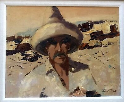 The Mexican-Oil on Board-Listed Artist-John Franklin
