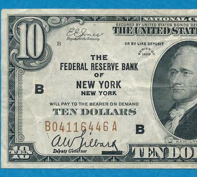 $20. 1929 New York  Brown Seal Federal Reserve Bank Note  Very Fine,, No Reserve