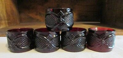 Avon Cape Cod 1876 Ruby Red Collection Set of 5 Napkin Rings
